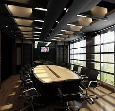 Indoor corporate meeting room