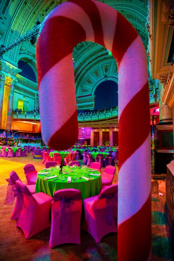 Chocolate Factory Themed Event - Candy Cane Table