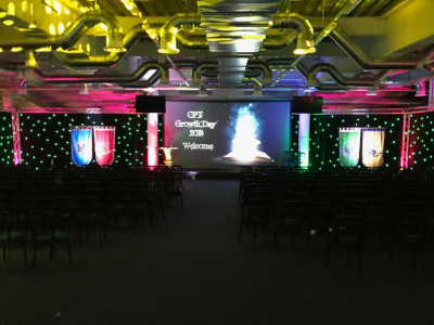 Venue lit up before the event