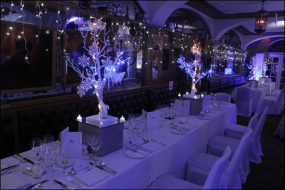 Winter wonderland table set out for a meal