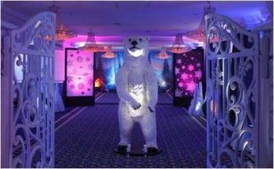 Polar bear stood central
