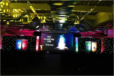Colourful venue lit up